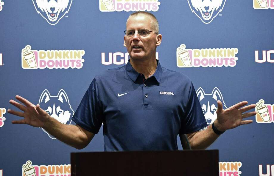 """UConn football coach Randy Edsall, shown here in a July 28 file photo, said after practice Sunday: """"The offense was bad today, just a lack of focus and concentration."""" Photo: Brad Horrigan / Associated Press / Hartford Courant"""