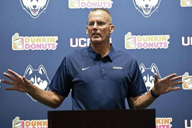 "UConn football coach Randy Edsall, shown here in a July 28 file photo, said after practice Sunday: ""The offense was bad today, just a lack of focus and concentration."""