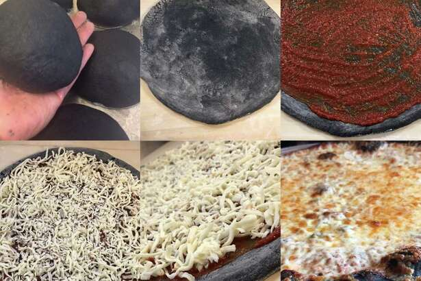 In this photo composite, Laredo Pizza's special Eclipse pizza is shown.