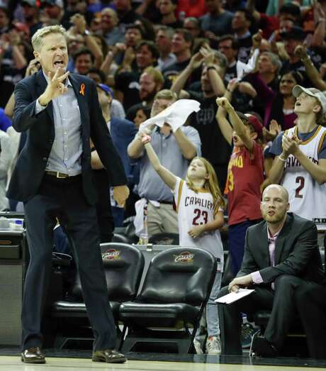 Golden State Warriors' Head Coach Steve Kerr calls a play in the third quarter during Game 4 of the 2017 NBA Finals at Quicken Loans Arena, June 9, 2017 in Cleveland, Ohio. Photo: Scott Strazzante / The Chronicle / online_yes