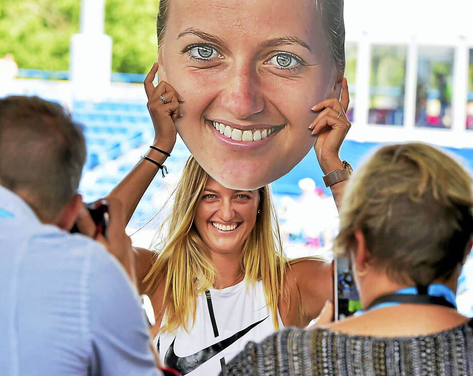 Petra Kvitova has her photograph made during a promotional event Sunday at the Connecticut Open. Photo: Peter Hvizdak/Hearst Connecticut Media / New Haven Register