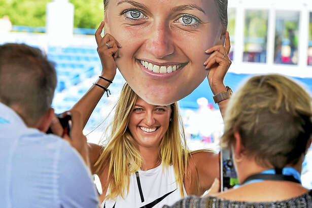 Petra Kvitova has her photograph made during a promotional event Sunday at the Connecticut Open.