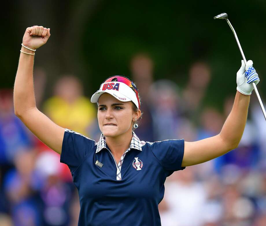 WEST DES MOINES, IA - AUGUST 20: Lexi Thompson of Team USA celebrates during the final day singles matches of The Solheim Cup at Des Moines Golf and Country Club on August 20, 2017 in West Des Moines, Iowa. (Photo by Stuart Franklin/ Getty Images) Photo: Stuart Franklin, Getty Images