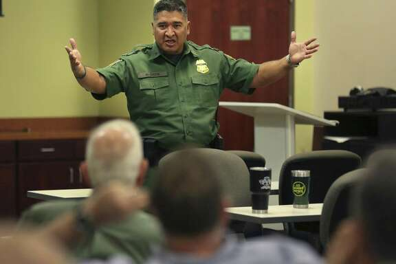 U.S Customs and Border Protection Rio Grande Valley Sector Deputy Chief Raul Ortiz holds a meeting with land owners along the Rio Grande River at the agency's Weslaco office, on Thursday, Aug. 17, 2017, concerning the possibility of construction of more border wall in the area.