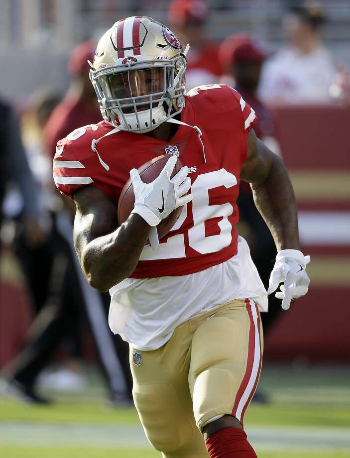 San Francisco 49ers running back Kapri Bibbs runs before a preseason NFL football game against the Denver Broncos Saturday, Aug. 19, 2017, in Santa Clara, Calif. (AP Photo/Eric Risberg) Photo: Eric Risberg, Associated Press