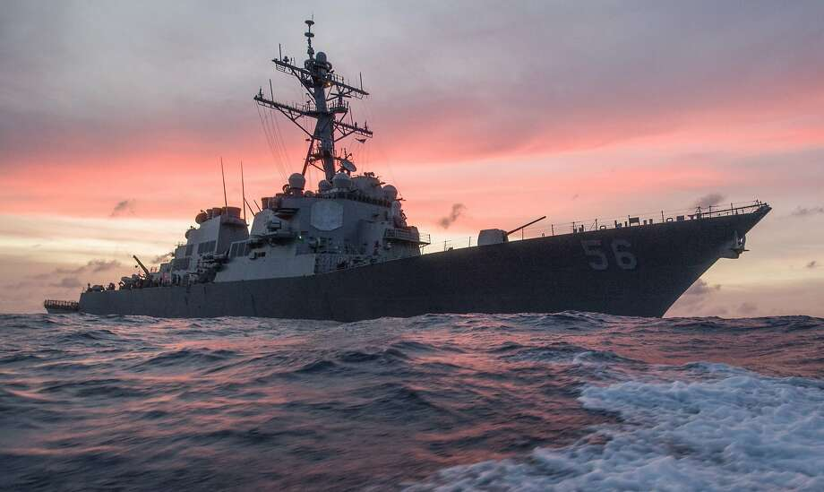 In this Jan. 22, 2017, photo provided by U.S. Navy, the USS John S. McCain conducts a patrol in the South China Sea while supporting security efforts in the region. The guided-missile destroyer collided with a merchant ship on Monday, Aug. 21, in waters east of Singapore and the Straits of Malacca. (James Vazquez/U.S. Navy via AP) Photo: James Vazquez, Associated Press
