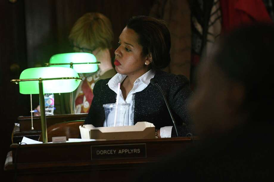 Albany Common Council member Dorcey Applyrs listens to citizens input on the proposed $177 million budget for 2017 on Monday, Nov. 21, 2016 in Albany, N.Y. (Lori Van Buren / Times Union) Photo: Lori Van Buren / 20038909A