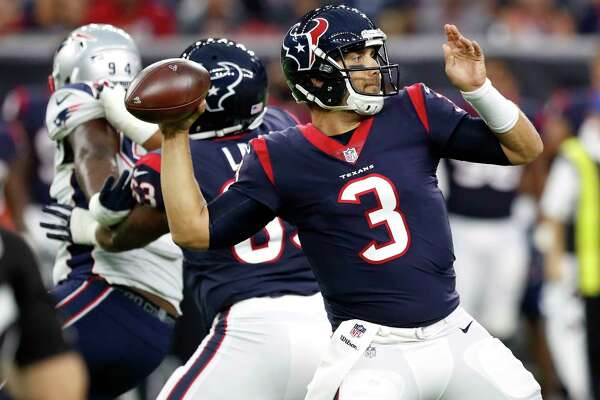 After two preseason games, Texans quarterback Tom Savage is 17-for-20 for 167 yards, one touchdown and no interceptions for a 118.1 rating.