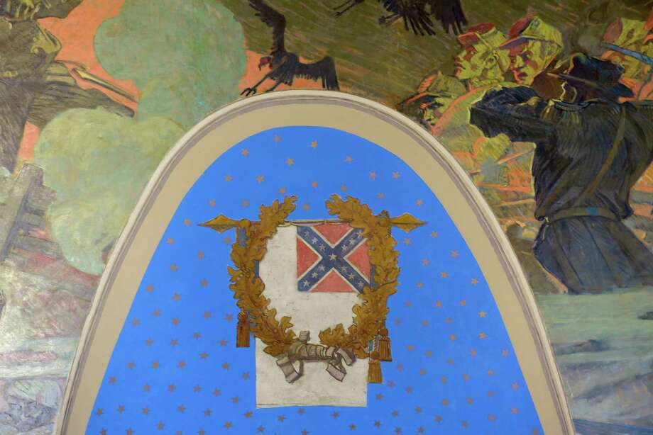 A view of the mural in the War Room inside the State Capitol on Sunday, Aug. 20, 2017, in Albany, N.Y.  Images of the Confederate flag are seen on portions of the mural.   (Paul Buckowski / Times Union) Photo: PAUL BUCKOWSKI / 20041336A