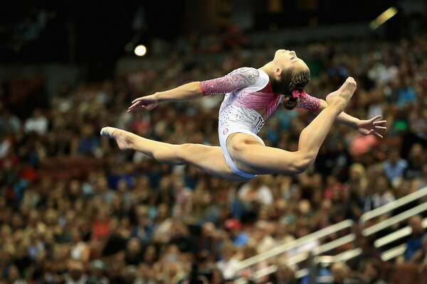 ANAHEIM, CA - AUGUST 20:  Ragan Smith competes in the Floor Exercise during the P&G Gymnastics Championships at Honda Center on August 20, 2017 in Anaheim, California.  (Photo by Sean M. Haffey/Getty Images)