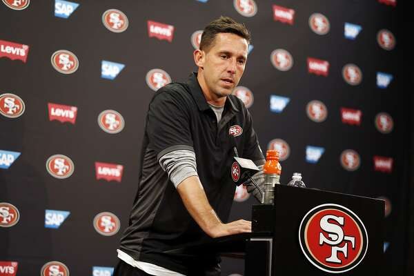 San Francisco 49ers head coach Kyle Shanahan answers questions after a preseason NFL football game against the Denver Broncos Saturday, Aug. 19, 2017, in Santa Clara, Calif. (AP Photo/D. Ross Cameron)