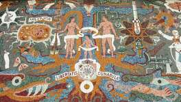 "A detail from Juan O'Gorman's mosaic mural ""Confluence of Civilizations"" features a child born from the meeting of Mesoamerican and European cultures."