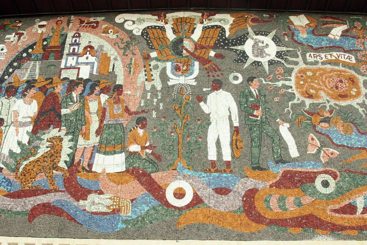 """A detail from Juan O' Gorman's mosaic mural """"Confluence of Civilizations"""" shows the artist's depiction of the indigenous heritage of Latin America."""