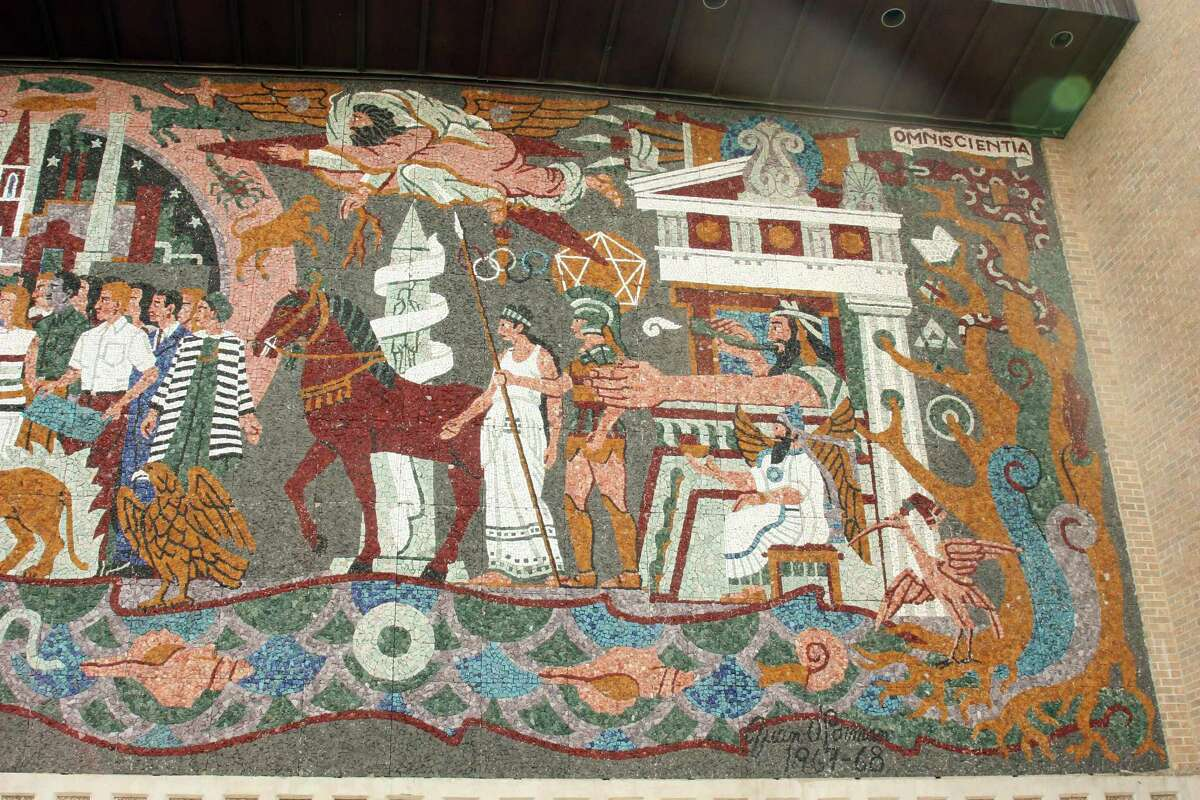 """A detail from Juan O' Gorman's mural """"Confluence of Civilizations"""" shows the artist's depiction of the civilizations that began with the Greeks and Romans."""