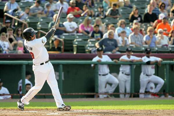 Tri City ValleyCats third baseman Adrian Tovalin (38) homers in the bottom of the 1st, Tri City ValleyCats second baseman J.J. Matijevic (4) scores - At Joe Bruno Stadium, Troy NY. (Robert Dungan / Special to the Times Union)