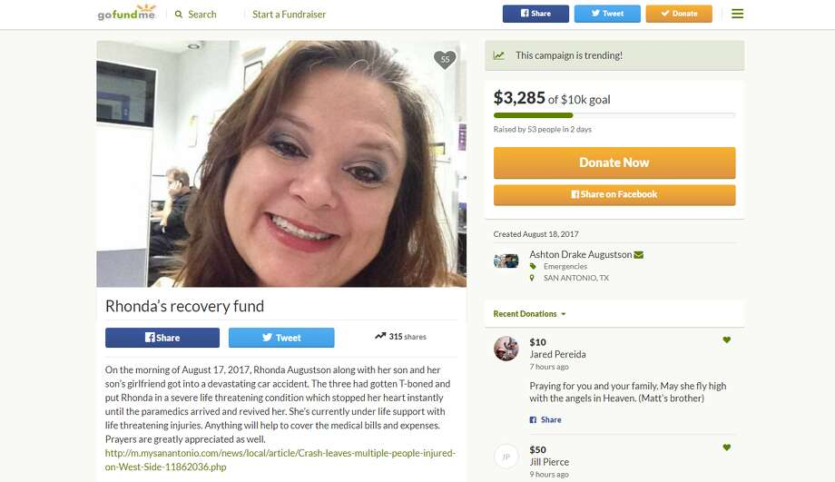 Following Rhonda Augustson's death, dozens of friends and family members posted tributes to her Facebook page and made donations to her GoFundMe page, which was created to help pay for her medical and funeral expenses. Photo: GoFundMe