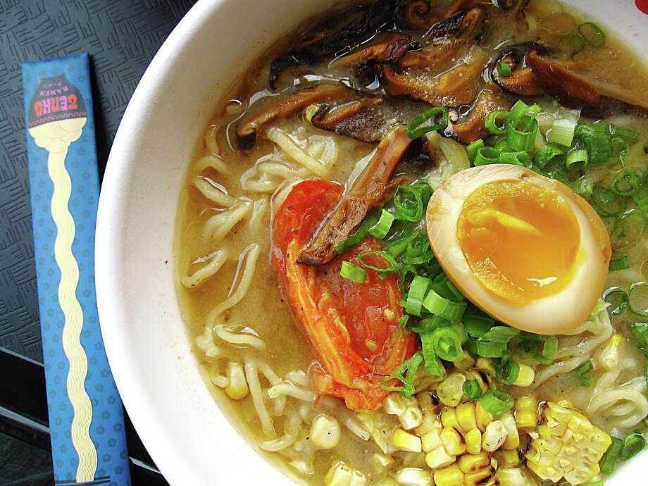 Tenko Ramen at The Pearl's new Bottling Department food hall has sparked a new interest in ramen in San Antonio. Pictured: Tenko's Double Mushroom ramen with smoked tomato, pickled mushrooms and a soft-boiled ajitama egg.Click through the gallery for seven places in town to get this classic Japanese noodle soup. Photo: Mike Sutter /San Antonio Express-News