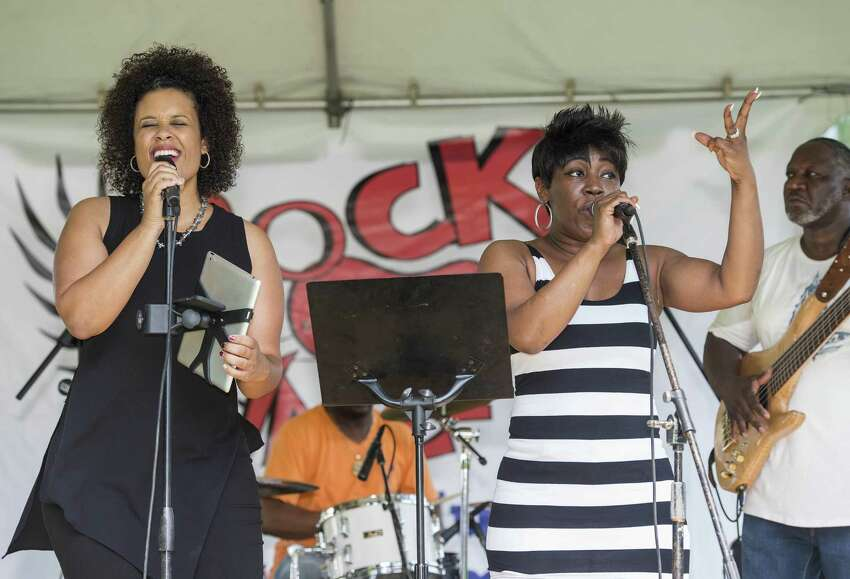 Left to right; Christi Jones and Bonita Brooks of the Bernadettes entertain the crowd at the annual