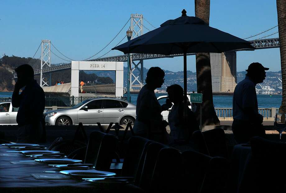 Pier 14 seen from Chaya Brasserie on the west side of the Embarcadero in San Francisco,. Photo: Liz Hafalia, The Chronicle