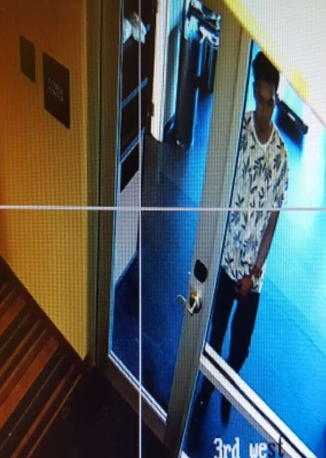 The suspect strolled into the Wyndham Garden hotel in the 100 block of 9th Street sometime between 8 and 8:30 p.m. on July 7, 2017, made his way to the third floor and then set of the fire extinguisher. Photo: Crime Stoppers