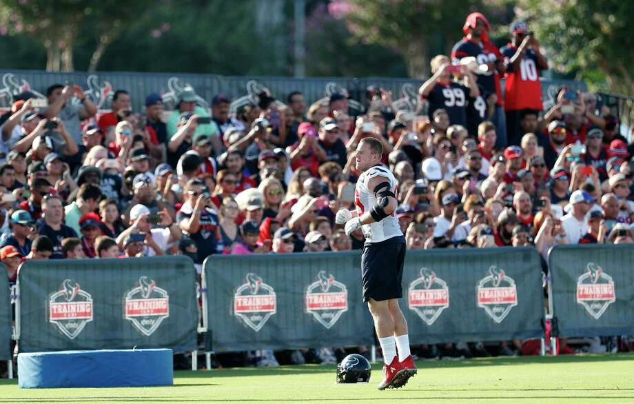 Houston Texans defensive end J.J. Watt warms up in front of the home fans during training camp at The Methodist Training Center on Monday, Aug. 21, 2017, in Houston. Photo: Brett Coomer, Houston Chronicle / © 2017 Houston Chronicle}