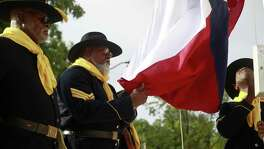 After the introduction of the new veteran facility, the Color guards hoisted the American flag along with the Texan Lone Star flag in front of the new building for the Good Samaritan Veterans Outreach and Transition Center on Aug. 9, 2017.