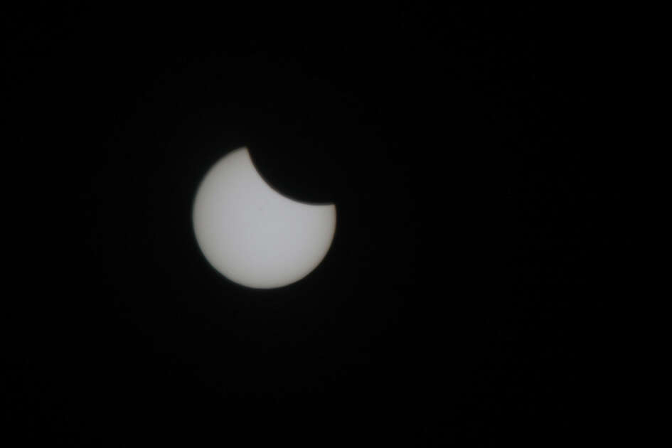 The beginning of the 2017 solar eclipse seen from Salem, Oregon on Monday, August 21, 2017.