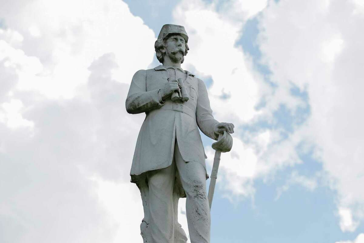 The Richard Dowling statue near the entrance to Hermann Park Monday, Aug. 21, 2017, in Houston. A Houston man was taken into custody on allegations he tried to plant explosives at the statue of Confederate officer Richard Dowling in Hermann Park, according to a high-level law enforcement official familiar with the investigation.
