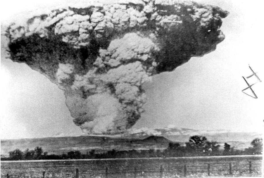 Mount Lassen volcano erupts on May 22, 1915 ay 22, 1915 Taken at Anderson, 50 miles away. United Press International photo