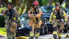 "Houston Firefighters arrive a  the scene of a ""law enforcement operation"" led by the FBI on the 2000 block of Albans Road Monday, Aug. 21, 2017, in Houston. ( Godofredo A. Vasquez / Houston Chronicle )"