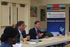 U.S. Sen. Richard Blumenthal, D-Conn., center, and Joe Carbone, CEO of The WorkPlace, a not-for-profit agency based in Bridgeport, host a roundtable discussion on a program that provides aid and training for older unemployed people.