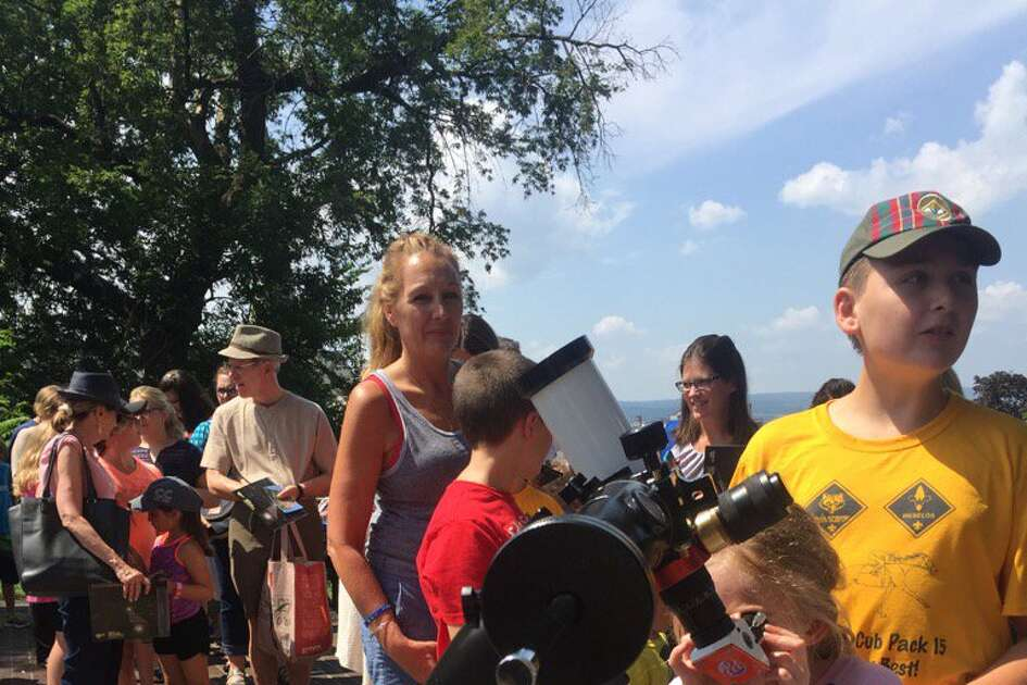 Lining up for a good look at the solar eclipse at Schenectady's miSci museum.