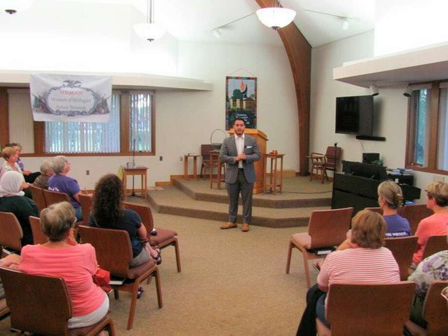 Abdul El-Sayad campaigned on Thursday for governor in Midland at the Unitarian Universalist Church.