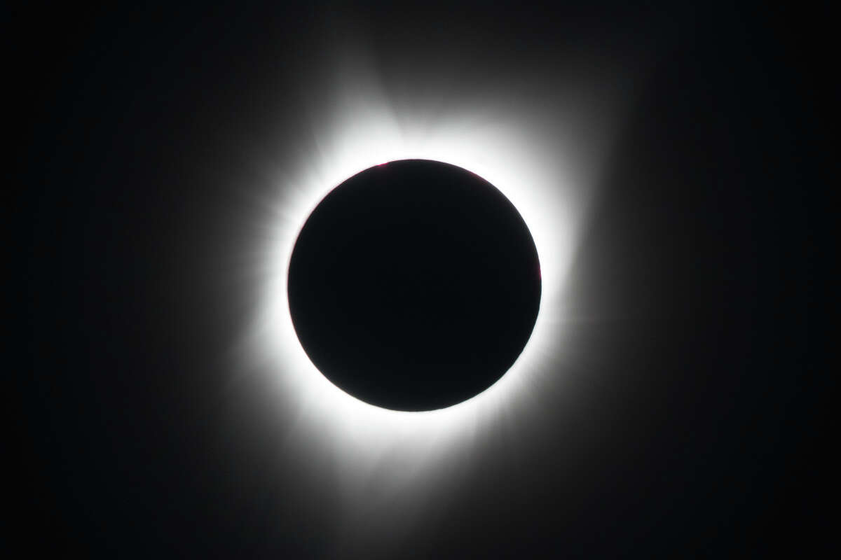 The moon covers the sun during a total solar eclipse as seen from Salem, Oregon on August 21, 2017.