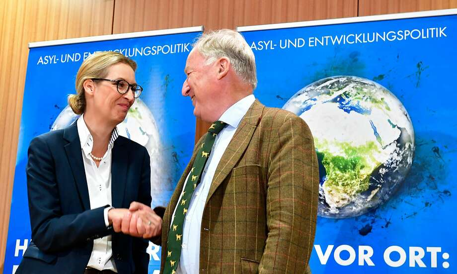Alternative for Germany leaders Alice Weidel and Alexander Gauland blame newcomers for crime. Photo: TOBIAS SCHWARZ, AFP/Getty Images