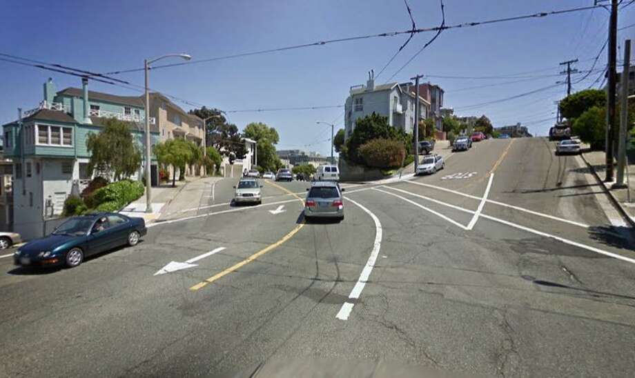 A street view image from Google shows the 800 block of Waller Street in San Francisco where a 52-year-old Daly City woman died after her own car rolled over her. Photo: Google / /