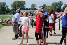 Crowds gathered at SIUE's Korte Stadium to view the solar eclipse event that took place this afternoon. Attendees witnessed the eclipse with a totality of 99.5 percent, making Edwardsville one of the primary viewing areas of the event.