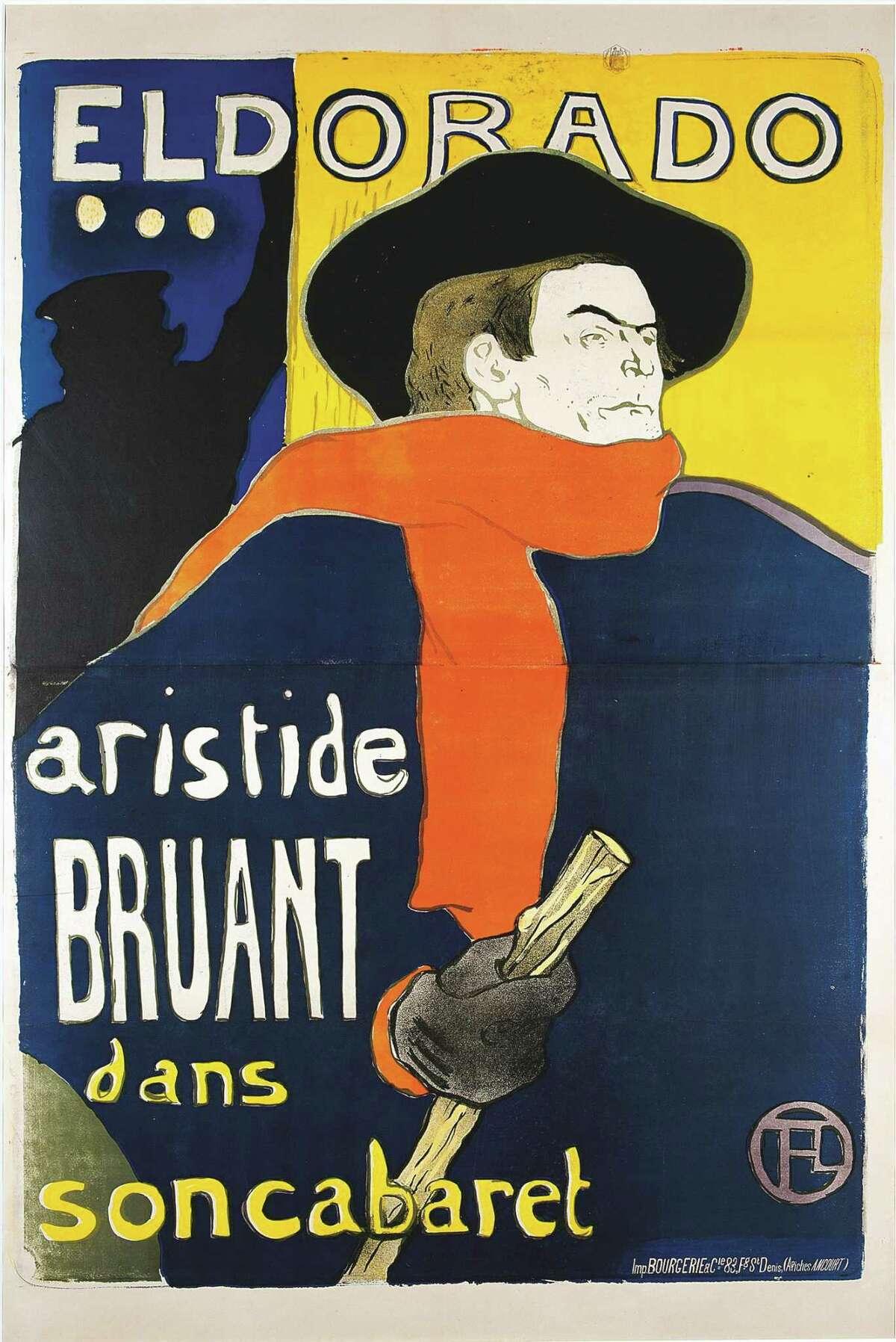"""Henri de Toulouse-Lautrec (French 1864-1901) - """"Eldorado, Aristide Bruant dans son cabaret,"""" 1892. Color lithograph, 1380 x 960 mm."""