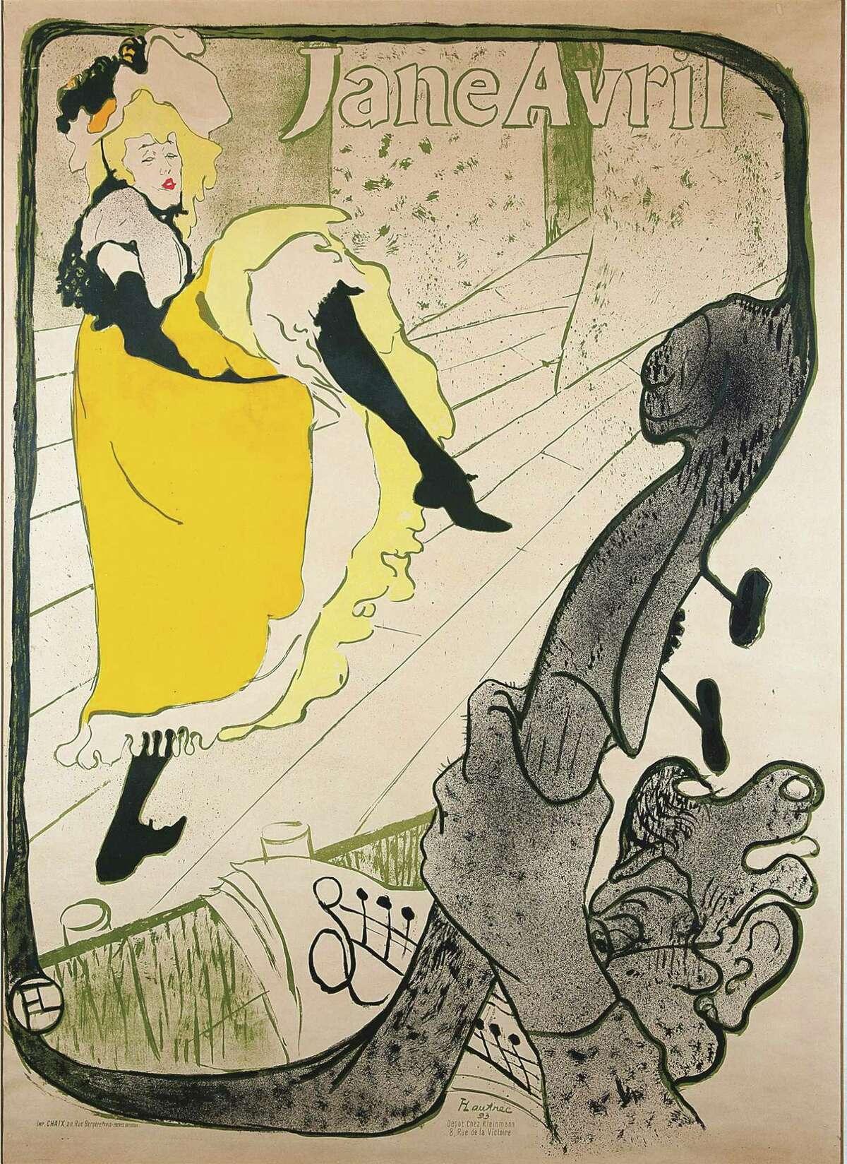 "Henri de Toulouse-Lautrec (French 1864-1901) - ""Jane Avril (Before Letters),"" 1893. Color lithograph, 1240 x 915 mm."