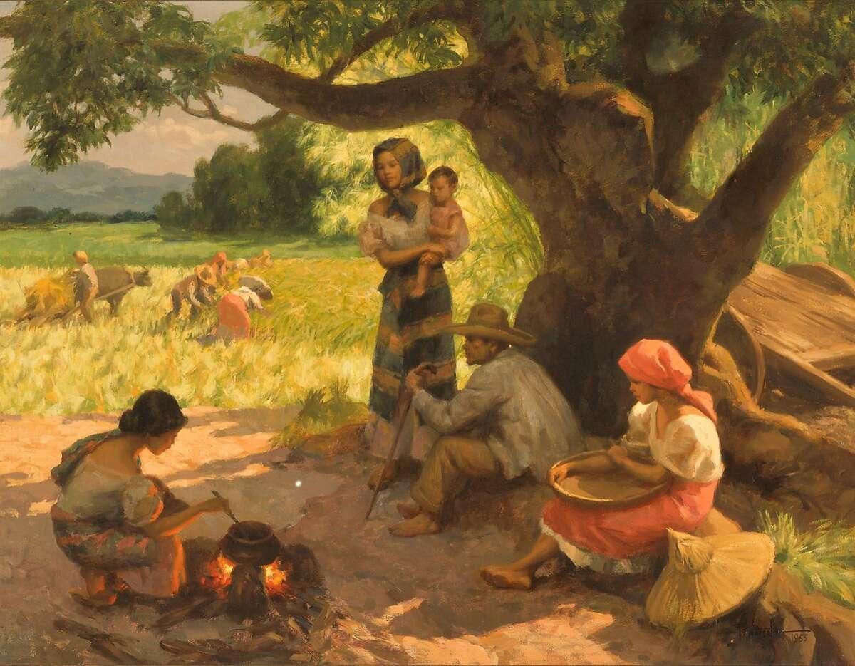 "Fernando Amorsolo,�""Farmers Working and Resting"" (1955)"