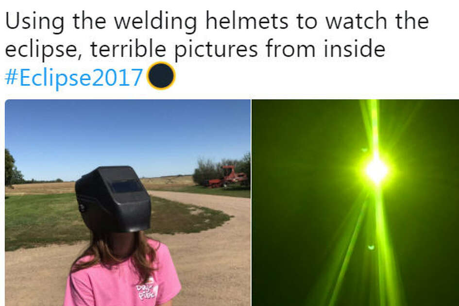The internet is celebrating the eclipse with some hilariously bad photos and DIY eyewear.   Twitter/@RinglerunSk