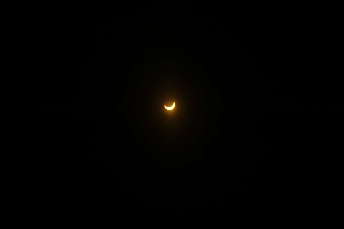 The moon partially covered the sun during a solar eclipse.