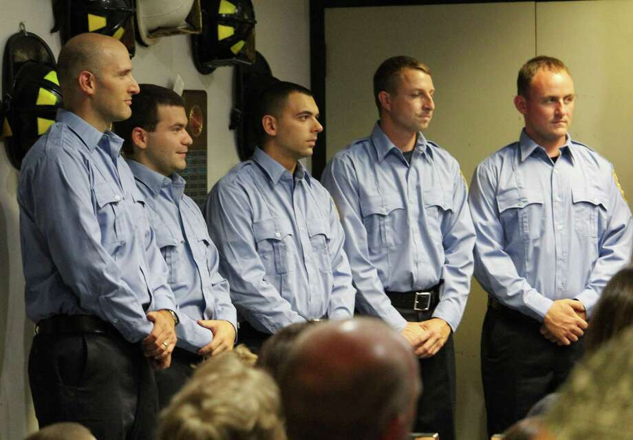 The Westport Fire Department swore in five new firefighters Aug. 18, 2017 at a ceremony at fire headquarters. Photo: Laura Weiss / Hearst Connecticut Media
