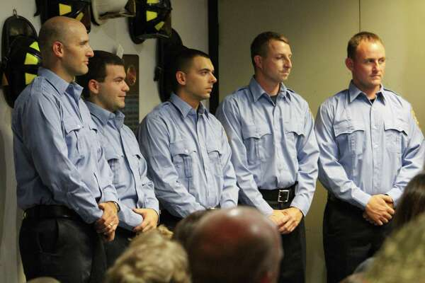 The Westport Fire Department swore in five new firefighters Aug. 18, 2017 at a ceremony at fire headquarters.