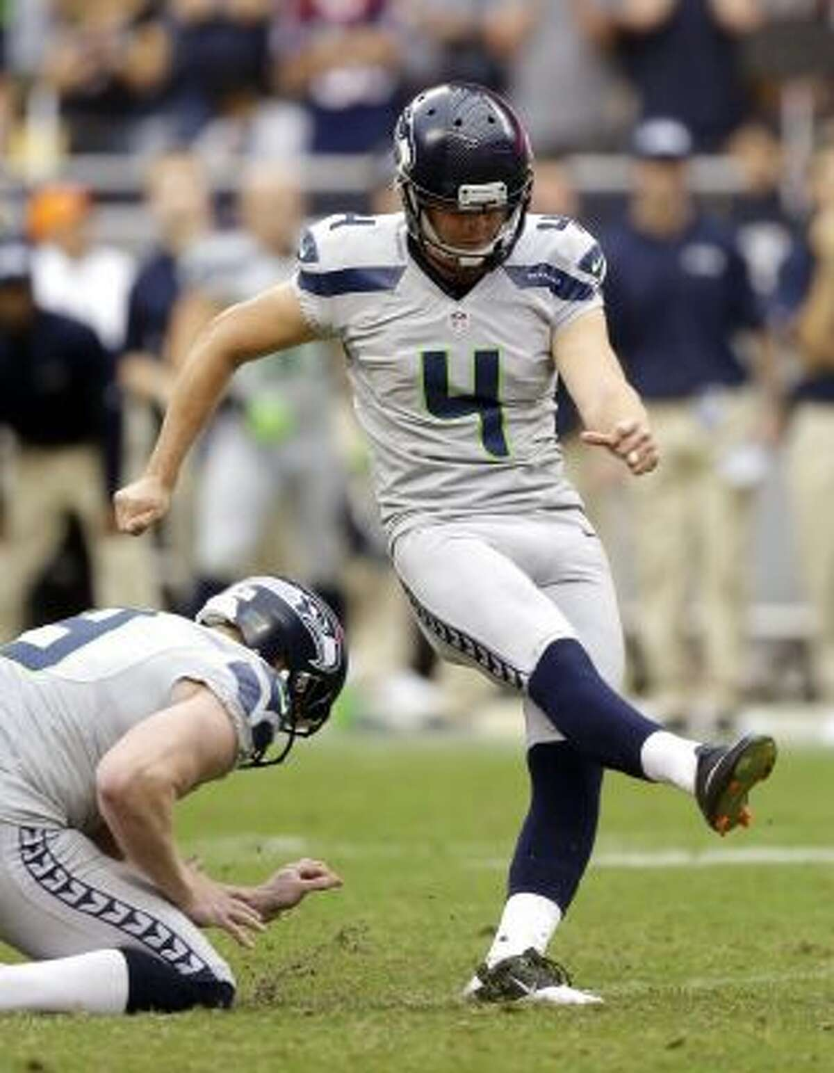 eattle Seahawks' Steven Hauschka (4) has found a home in Seattle after bouncing between jobs and around the NFL.
