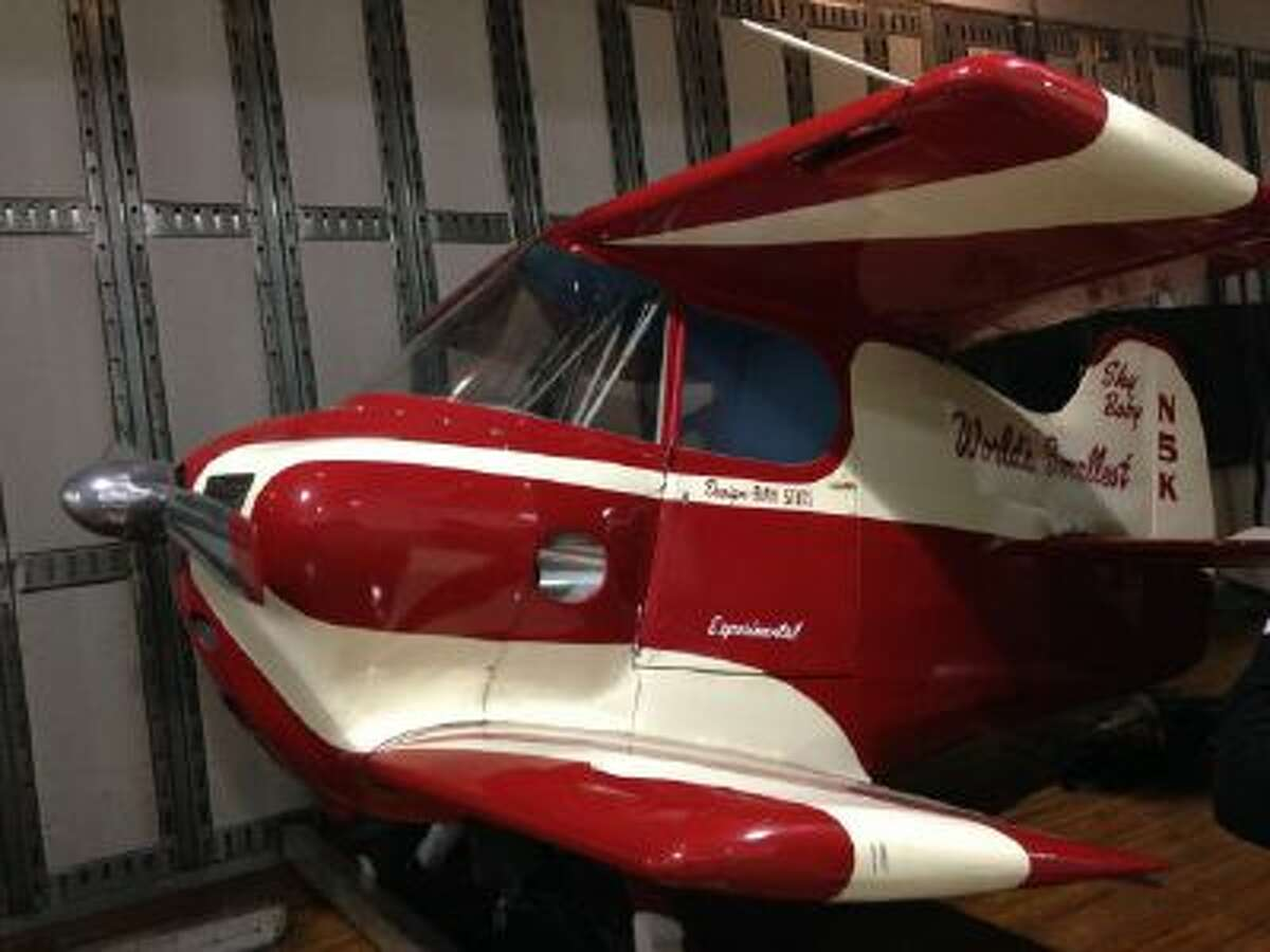 The Stits Sky Baby, once the world's smallest plane with a wingspan of 7-feet and standing only 5-feet tall, is seen at the National Air and Space Museum's Udvar-Hazy Center in Chantilly, Va., where it will go on display.