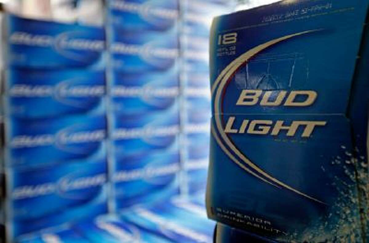 Bud Light beer is shown in the aisles of Elite Beverages in Indianapolis.