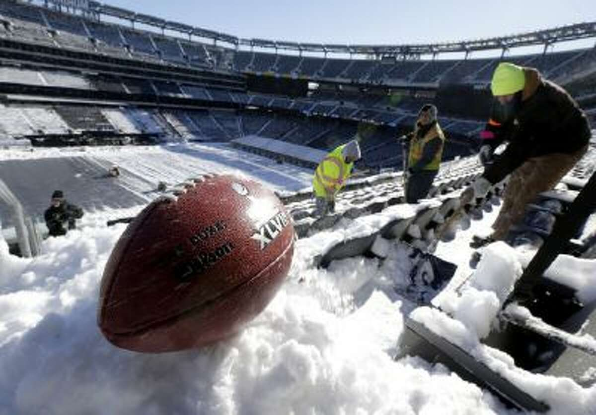 MetLife Stadium in East Rutherford, N.J., saw more than a foot of snow pile up as a storm descended on the New York metropolitan area this week.
