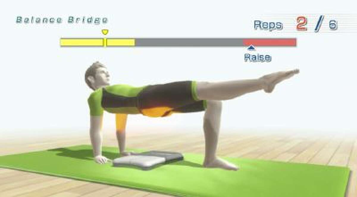 """This photo shows a scene from the video game, """"Wii Fit U"""". Nintendo essentially launched the fitness game genre in 2008 with """"Wii Fit,"""" and now they're back with an updated edition for the Wii U system that works in tandem with the old Wii Balance Board and the new Fit Meter, a round doodad which measures real-world activity like steps taken and changes in elevation."""