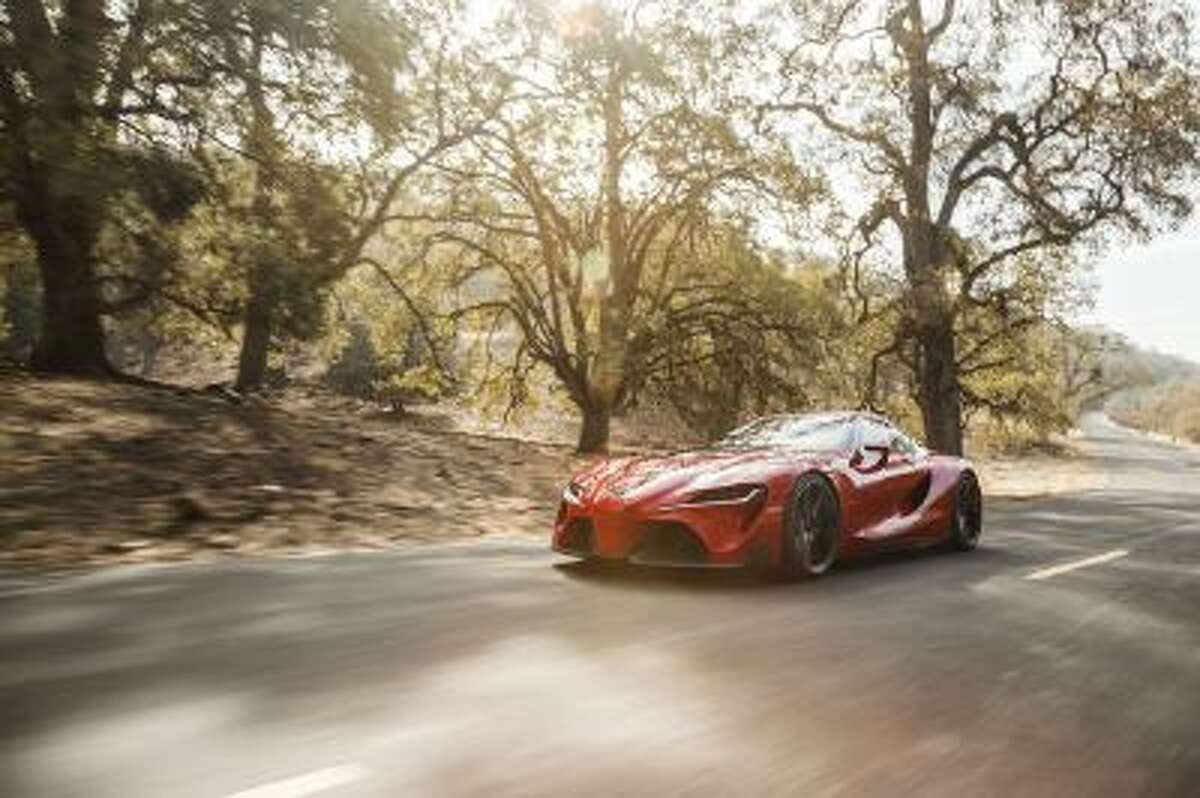 The Toyota FT-1 concept has huge air intakes and a wraparound windshield.